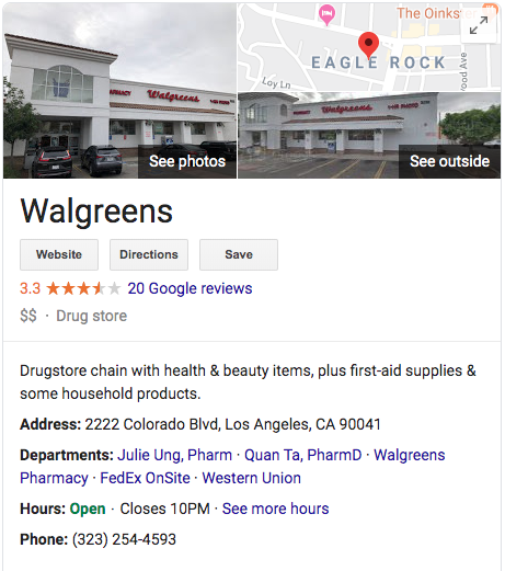 A screenshot of a Walgreens Google My Business Listing showing in the search results page.